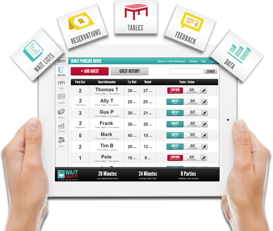 WaitHappy Restaurant Customer Experience Tools Wait Management - Table management app